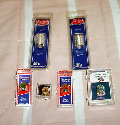 Six Pewter/metal Thimbles-All In Original Packaging Or Boxes.  (Group 1)