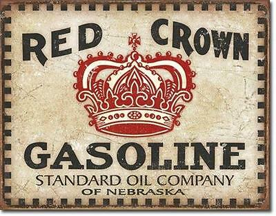 Standard Oil Company Red Crown Gasoline Weathered  Metal Tin Sign