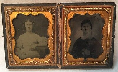 2 Ambrotypes of Young Ladies / Girls in dresses in Double Daguerreotype Case