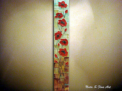 """Original Vertical Artwork Abstract Poppy Painting Palette Knife 36""""  by Nata S."""