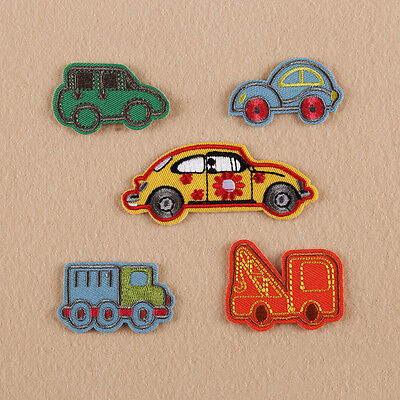 5pc Cartoon Car Patches Embroidered Sew Iron on Badge Bag Applique Fabric Cloth