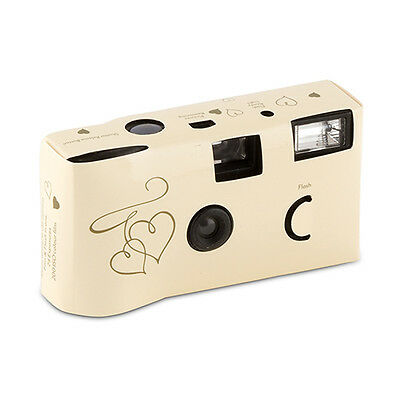 10 Ivory Linked Hearts Disposable Wedding Table Camera Cameras Lot Q17300
