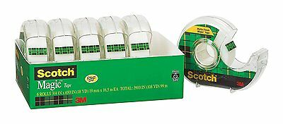 Scotch Magic Tape and Refillable Dispenser, 3/4 x 650 Inches, 6-Pack (6122) NIB