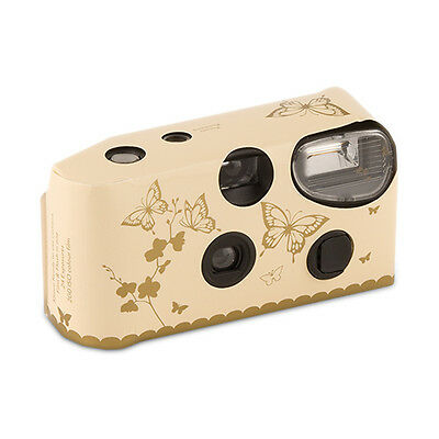 10 Ivory Gold Butterfly Disposable Wedding Table Camera Cameras Lot Q17296