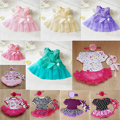 Infant Girls Tulle Princess Dress & 3 Pcs Outfit Sets With Shoe Hair-band Skirt