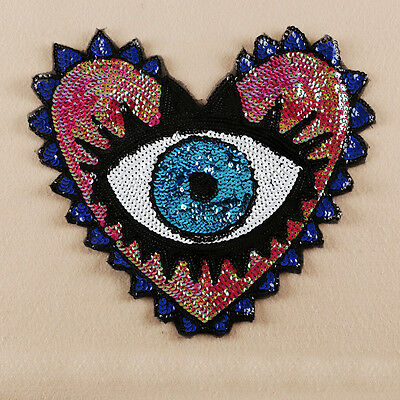 Sequin Embroidered Sew on Patch Badge Applique Large Heart Evil Eyes Fabric DIY