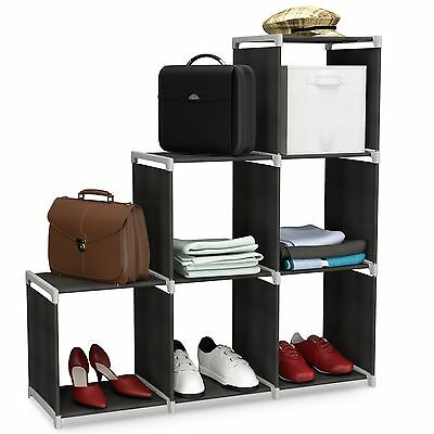 Storage Cube Closet Organizer Shelf 6-cube Cabinet Bookcase Black