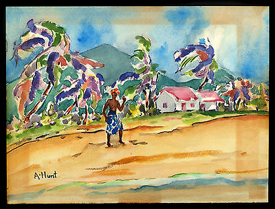 Vintage Small Watercolor Hawaiian Landscape By A. Hunt.