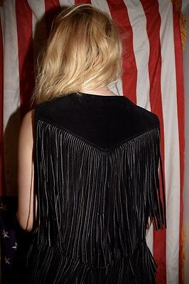 Vintage black suede leather fringe tassle retro 1980 vest rare american small