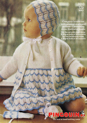 Vintage Knitting  Pattern Copy - To Knit Complete Layette  Set For  Baby - 4Ply