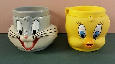1990's Looney Tunes Bugs Bunny,Tweety Bird,&Tasmanian Devil 3D Mug/Cup Lot Of 2