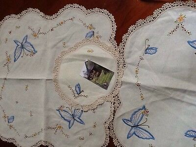 Vintage 1930-1950s Hand Embroidered Linen Doily Cloths X3  - Butterflies Flowers