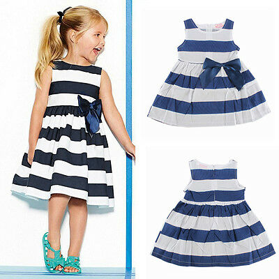 Toddler Baby Girl Striped Bow Dress Kids Summer Clothes Sleeveless Sundress 1-5Y