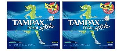 2x Tampax Pearl Active Super Absorbency Unscented Tampons, 36ct Each = 72 Total
