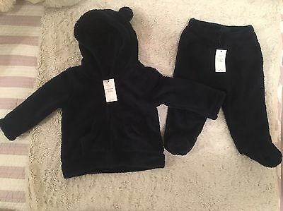 NWT Baby Gap Navy Blue Fleece Bear Zippered Hoodie And Pants 6-12 Months