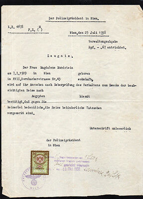 German Document - Permission To Travel Out Of Vienna - Top Police Elite Ww2 Wwii