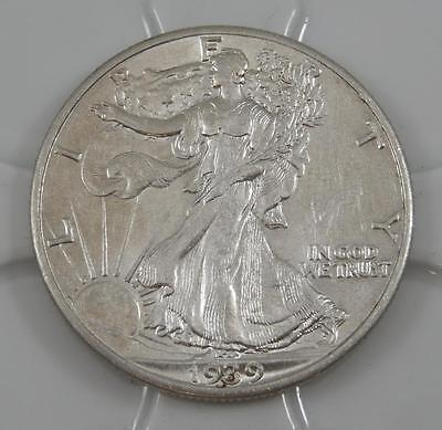 1939 AU Walking Liberty Silver Half Dollar 50 Cent Coin A0544
