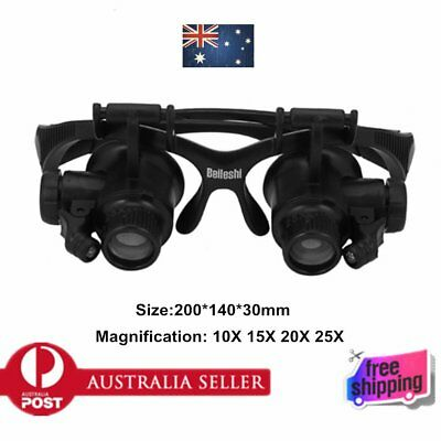Lens 10X 15X 20X 25X Watch Repair Glasses Jeweler Magnifier with 2 LED Lights BX