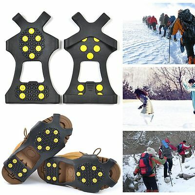 Snow Ice Climbing Shoe Spike Grips Cleats shoes Cover Crampons 10-Stud Anti Slip