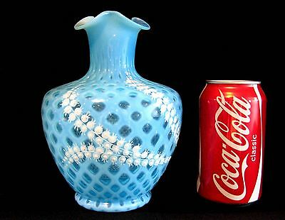 """7.25"""" Antique BOHEMIAN Blue Opalescent Glass Lily of the Valley VASE Victorian"""