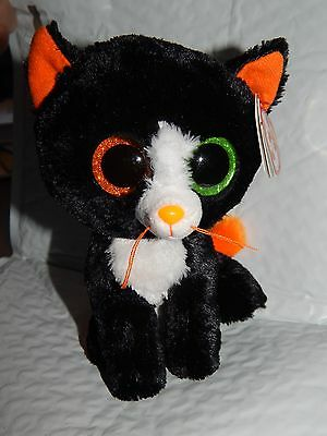 "NWT 6"" Boos Ty Plush Cat 2015 Halloween Beanie Babies Black Orange Frights New"