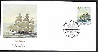 """Micronesia 1993 """"Sea Witch"""" - Sailing Ship -  First Day Cover."""