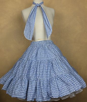 Blue White 3 Tier Square Dance Skirt with matching Man Tie