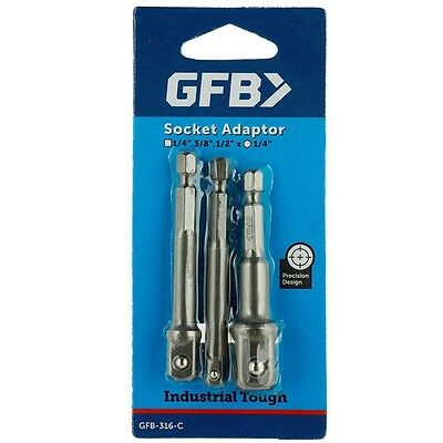 GFB SOCKET ADAPTOR SET 1/4 Inch Hex, 3 Pieces, 1/4, 3/8 & 1/2 Inch Square Drive