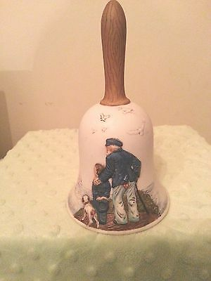 """Norman Rockwell Ltd Ed Porcelain Bisque Bell """"Looking Out to Sea"""" 1981"""