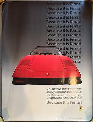 RARE Vintage 70's Because It Is FERRARI Italy Advertising Poster MAN CAVE 32x24