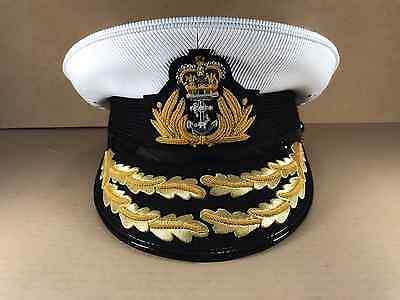 Royal Navy Admirals Cap,Plastic cover Flag Officer, RN, Gold Peak, Military Hat