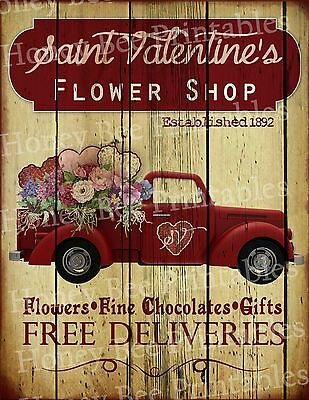 Primitive Valentine Flower Shop Old Red Truck Holiday Folk Art PRINT ONLY 8x10