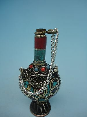 Collection ancient Chinese Tibet copper inlaid turquoise snuff bottles