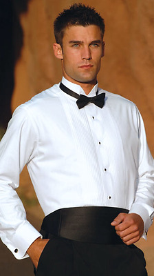 "NEW Tuxedo Shirt 1/4"" Pleat Wing Collar.  FREE Black  bow tie"