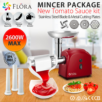 Flora Red Electric Mincer Meat Grinder Tomato Sauce Kit Package PLUS
