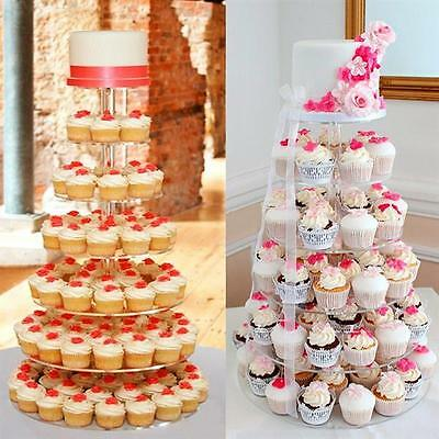 7-Tier Clear Acrylic Round Clear Cupcake Stand Wedding Birthday Display Tower
