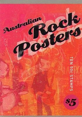 2006 STAMP BOOKLET AUSTRALIAN ROCK POSTERS 10 x 50c STAMPS MUH