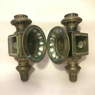 Pair of Early Fluid Burning Coach Buggy Lamps w/ Beveled Glass - Large Antiques