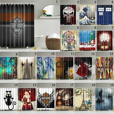 Waterproof Bathroom Shower Curtain Sheer Hanging Panel 180*180cm + Hooks Set
