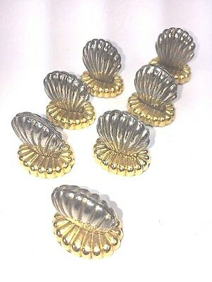 Set Of 7 Place Card Holders Shell Design Two Toned Golden Silver Color Holiday
