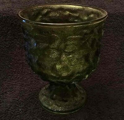 "EO Brody Co Green Glass Candy Dish Vtg 6"" Goblet Bowl Nuts Decorative Cleveland"