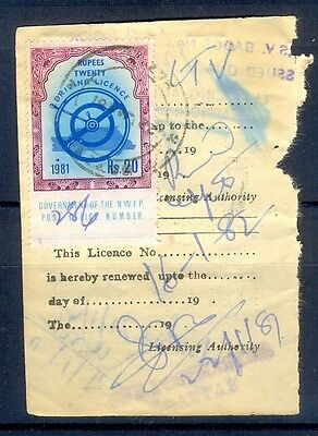R20- Pakistan Driving License Revenue Stamps Used on Original Document. N.W.F.P