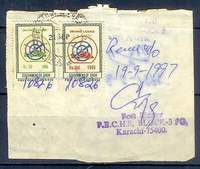 R42- Pakistan Driving License Revenue Stamps Used on Original Document.