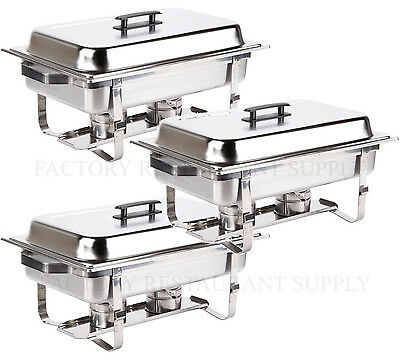 3 Pack Catering Stainless Steel Chafer Chafing Dish Set 8 Qt Full Size Buffet