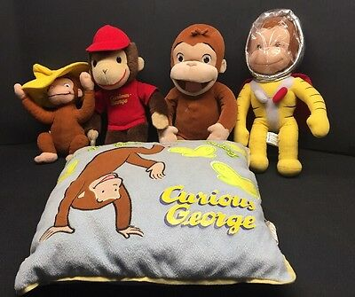 Curious George Large Plush Lot of 5 Vintage