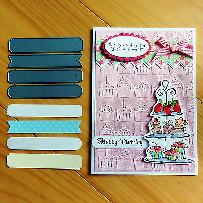 DIE-NAMICS SENTIMENT STRIPS CHRISTMAS BIRTHDAY MESSAGES 4 cutting shapes - BNIP