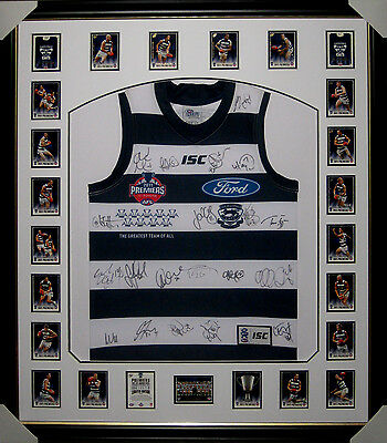 2011 Geelong Cats Premiers Jumper Framed & Signed By Grand Final Squad - Coa