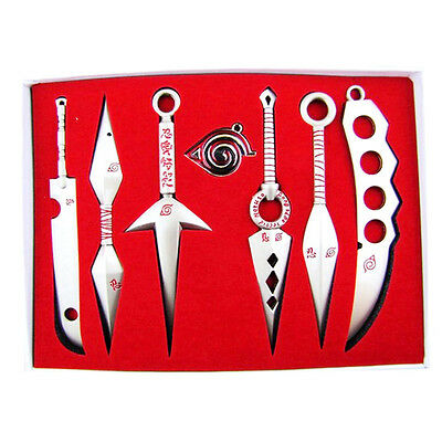 Seven Weapon Anime Naruto Cosplay Model Metal Sword Knife 7pcs/set