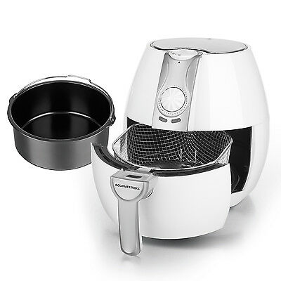 GOURMETmaxx hot air Fritteuse 8 in 1 1500 W in white with Basket of bread baking