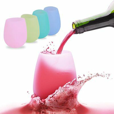New Unbreakable BBQ Silicone Cup Wine Glass Stemless Beer Whiskey Collapsible DX